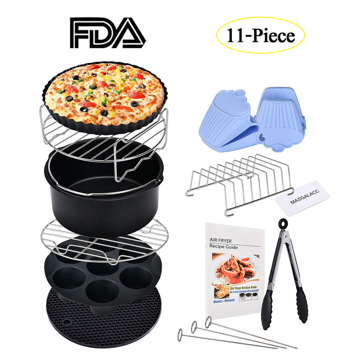 Air Fryer Accessories 11pcs Fits all 3.7QT- 4.2QT for Gowise Phillips and Cozyna - Non-stick Barrel/Pan, Stainless Steel Holder, Silicone Mat, Cookbook Included