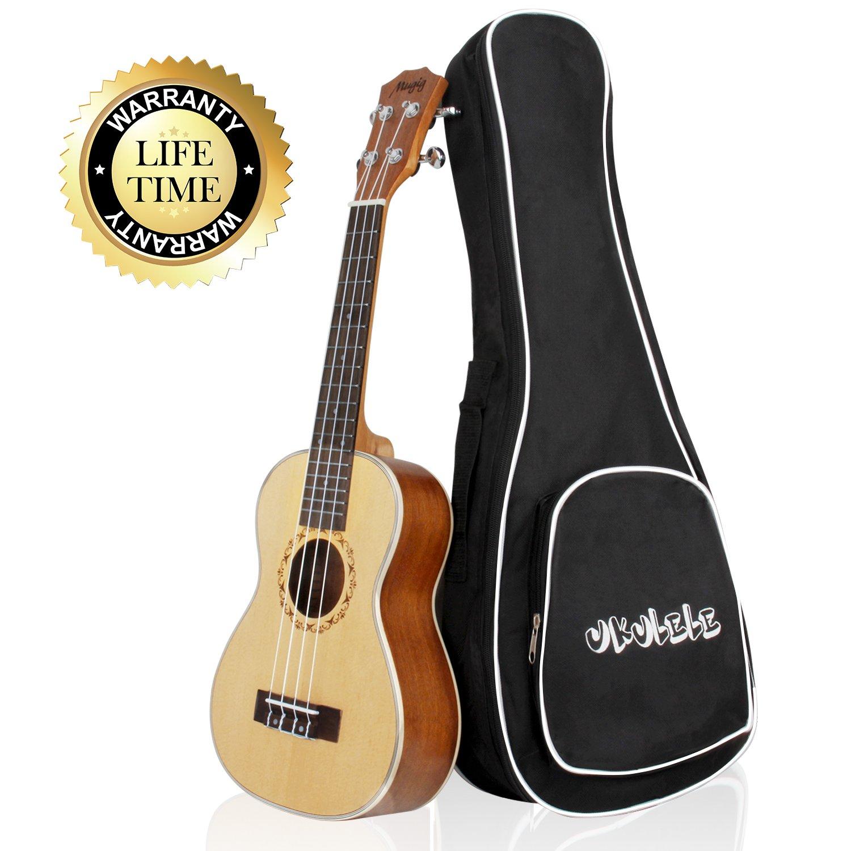 Mugig Ukelele Instrumento de Soprano 21 Pulgadas 4 Cuerdas de Nivel de Entrada(Tapa de Pícea y Fondo y Aros de Caoba) (21) product image
