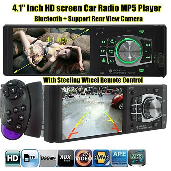 Car Stereo Receivers BININBOX 4.1 Inch HD Digital Vehicle MP5 Player Car FM Radio USB SD AUX Interfaces Car Electronics & Accessories