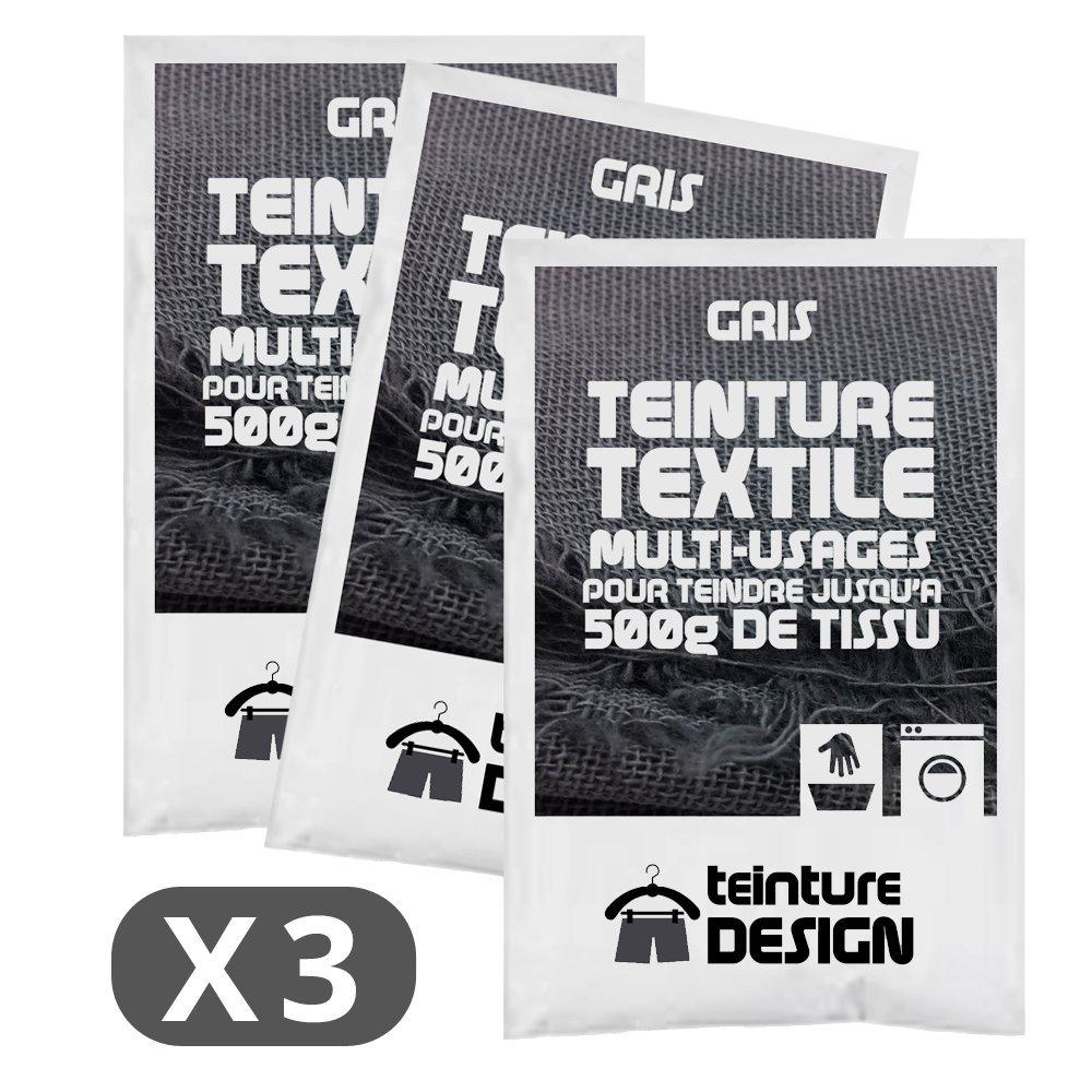 Set de 3 bolsas de tinte textil –  Gris –  Teintures universales para ropa y telas naturales Teinture Design