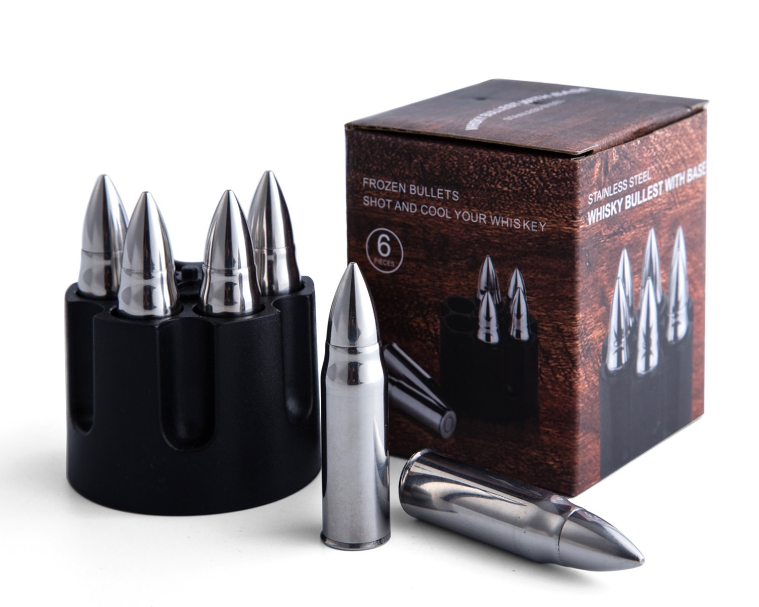 JILLMO Whiskey Bullet Stone with Base 304 Stainless Steel Reusable Chilling Ice Rocks/Set of 6/2.25'' Large Bullet-Shaped Chillers for Whiskey Lover …