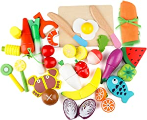 Steventoys Wooden Cutting Fruit Vegetables Set,Pretend Play Magnetic Kitchen Set, Early Education Development, Learning and Montessori Toys for Toddler Kids Baby Boys Girls