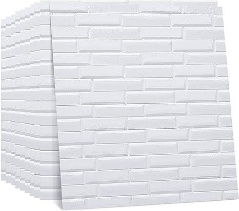 Regetek 3d Wall Panels Faux Foam Wallpaper Self Adhesive Decorative For Interior Tv Walls Sofa Background Wall Decor Diy Peel And Stick White Brick Wallpaper 10 Pack 58 13 Sq Ft Kitchen Dining