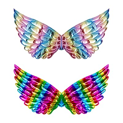 Segreto Kids Gradient Colored Butterfly Fairy Costume Wings Party Dress up Birthday Party,2 pcs: Clothing