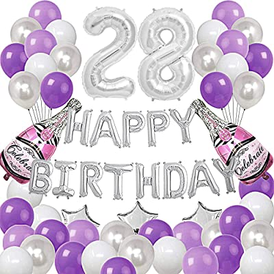 Silver Number 28 Foil Balloons Happy Birthday Banner with 47Pcs Latex and Foil Balloons for 28th and 82nd Birthday Party Decoratons Purple Silver Theme Party Supplies: Health & Personal Care