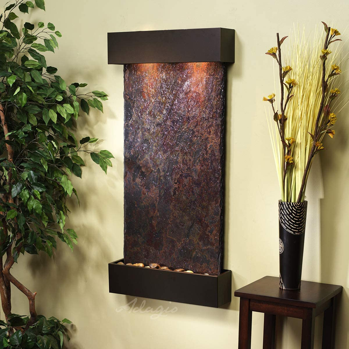 Whispering Creek Water Feature with Antique Bronze Trim and Square Edges (Natural Multi-color Slate): Home & Kitchen