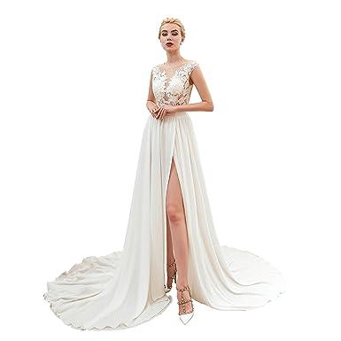 Perferdress Robe De Mariée Simple Robe De Mariage Longue
