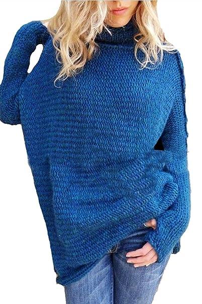 Maglione Collo Alto Donna Autunno Invernali Manica Lunga