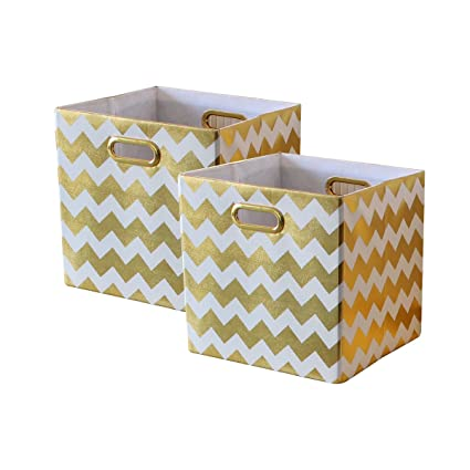 Bon BAIST Cube Storage Bins,Nice Foldable Square Gold Fabric Decorative Cubby  Storage Cubes Bins Baskets