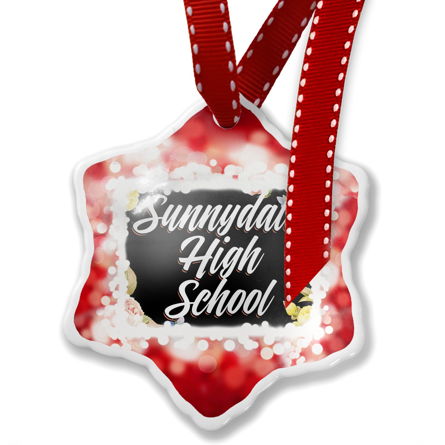 Christmas Ornament Floral Border Sunnydale High School, red - Neonblond
