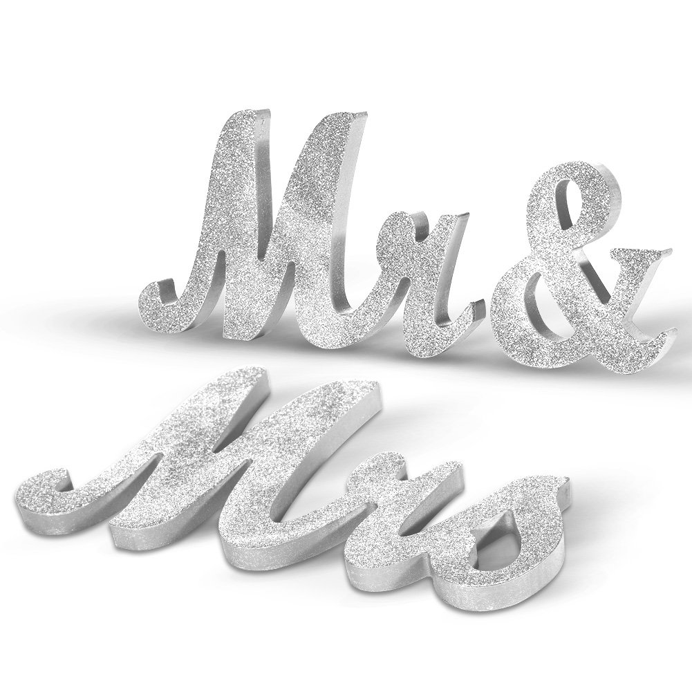 Adeeing Vintage Style Silver Glitter Mr & Mrs Wooden Letters Table Decorations for Wedding DIY