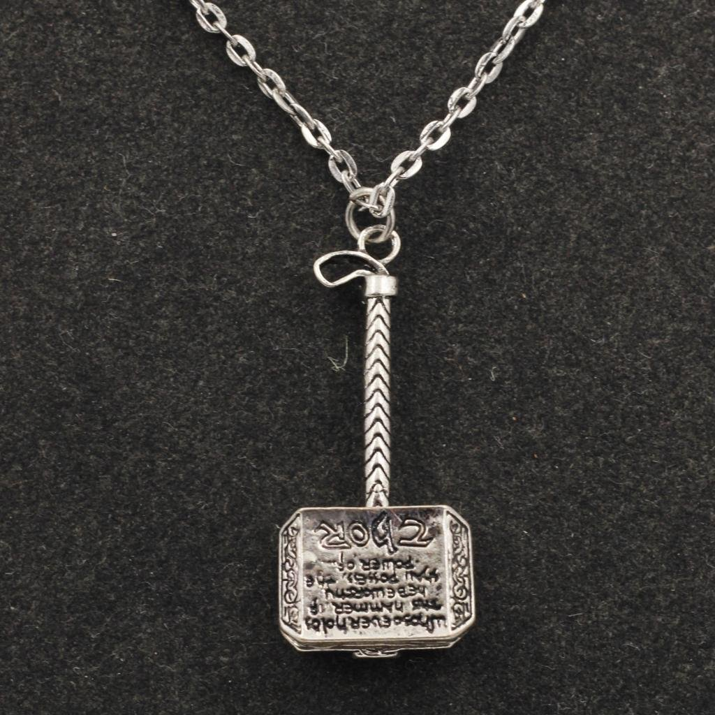 steel necklace thor item magick hammer pewter pendant chain norse color alloy jewelry gold world stainless necklaces men from in skull dark s fashion for the mjolnir