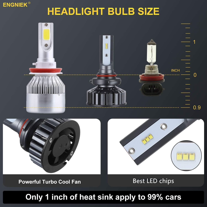 6000K 9005 LED Headlights Bulbs HB3 High Beam Pure White Bright Conversion Kit Headlamp 12,000Lm 2pcs 80W