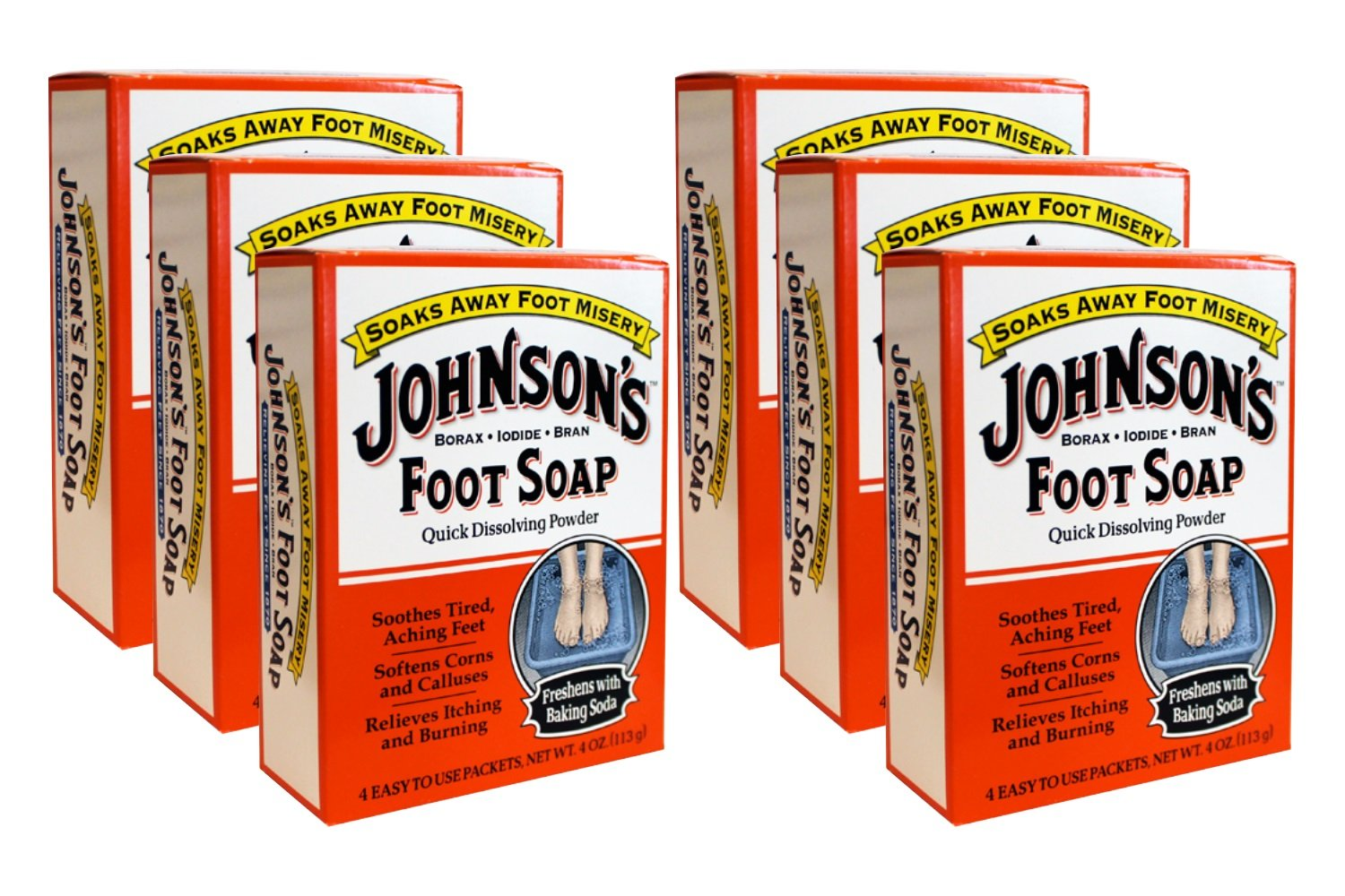 Johnson's Foot Soap Quick Dissolving Powder, Pack of 6 (24 Easy To Use Packets) Choice