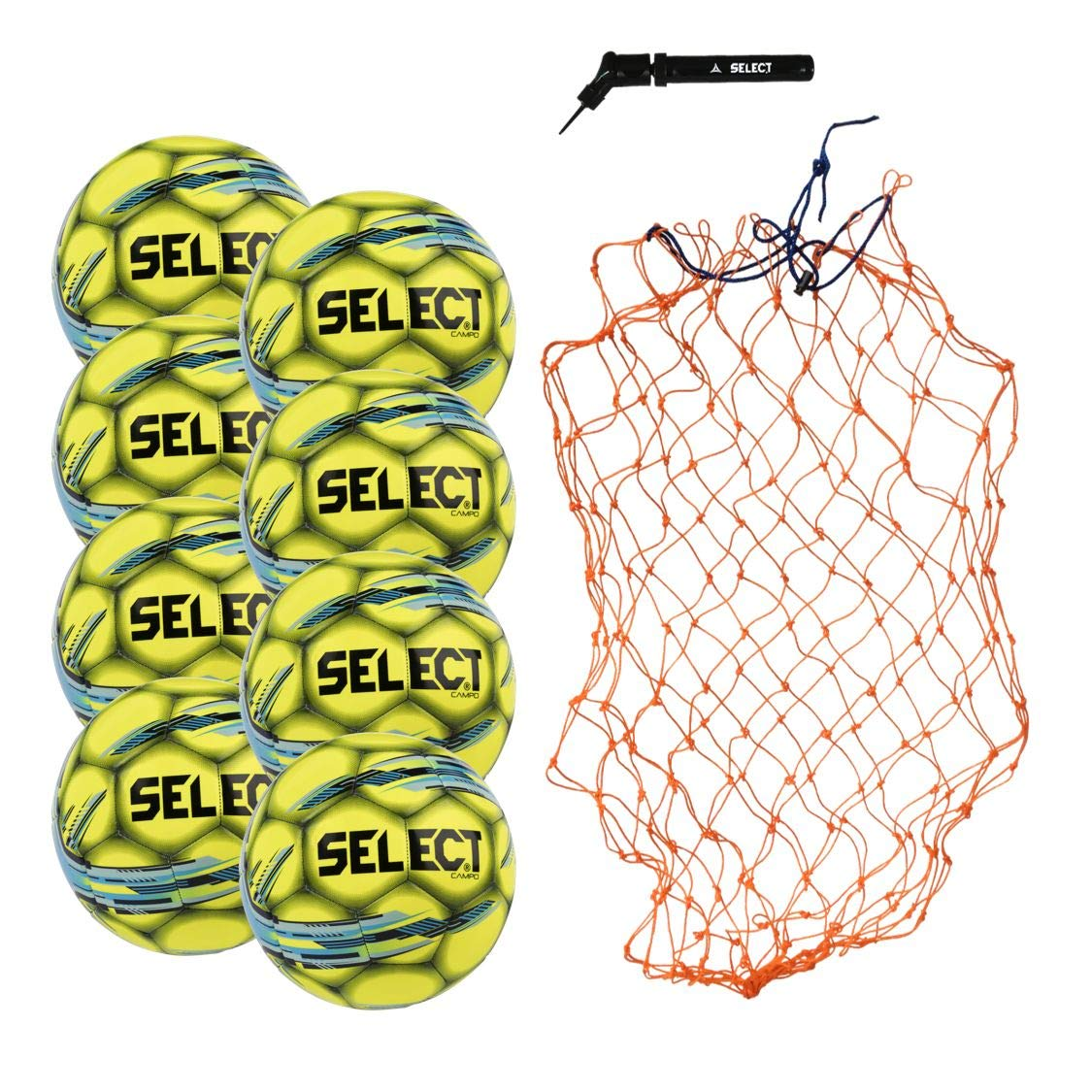 Select Campo Soccer Ball Package - Pack of 8 Soccer Balls with Ball Net and Hand Pump, Yellow, 3