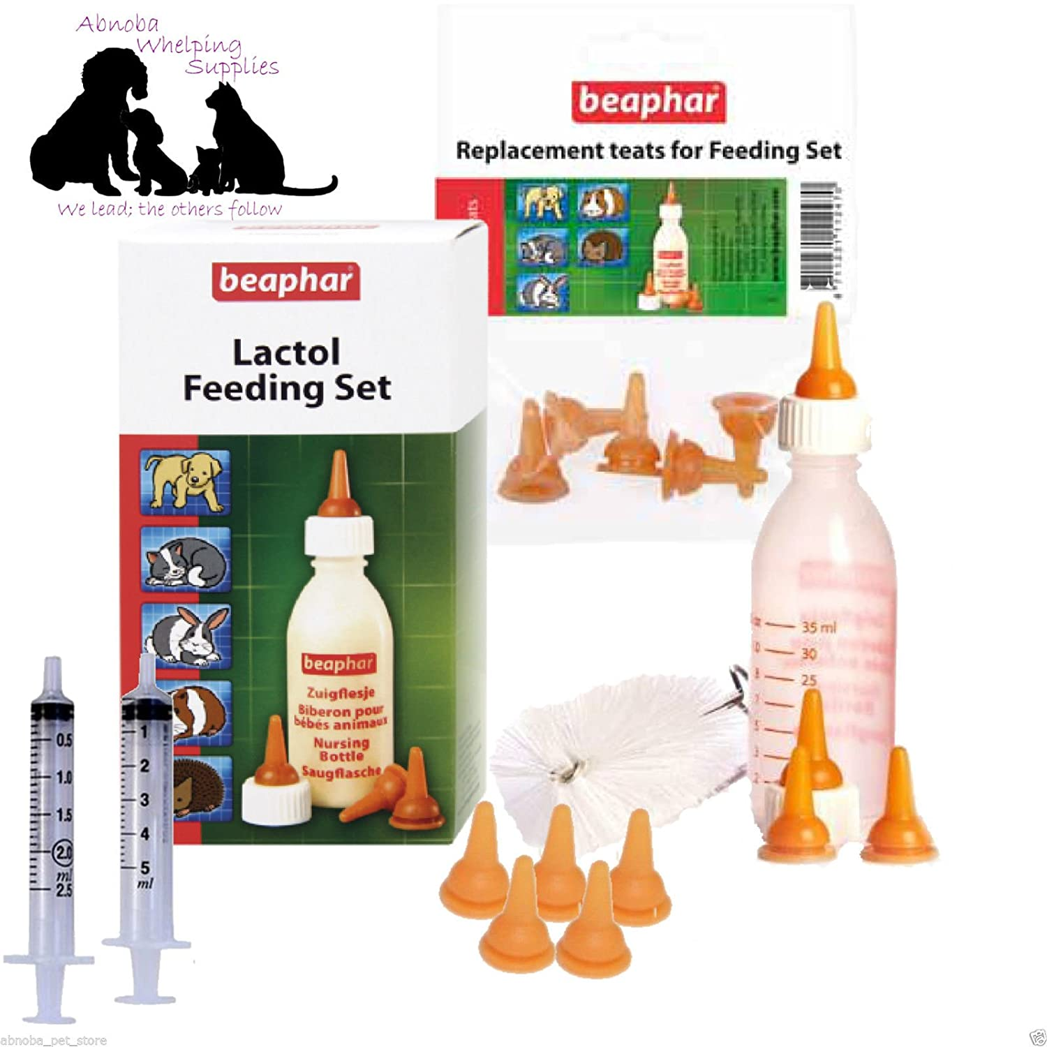 Beaphar Lactol Milk Bottle | 9 Teats | 2 Feed Syringes | Puppy & Kitten Whelping