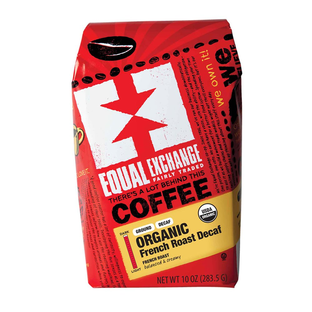 Equal Exchange Organic Coffee, French Roast Decaf, Ground, 10-Ounce Bag