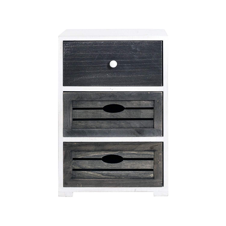 Rebecca Mobili Mesita de noche con 3 cajones, cómoda pequeña, madera de paulonia, blanco gris,design vintage shabby, cuarto de baño dormitorio- ...