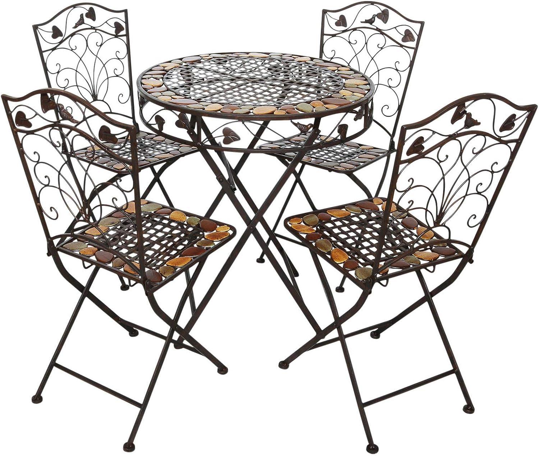 aubaho Gartentisch und 4 Stühle Eisen Schmiedeeisen antik Stil Gartenmöbel braun Stein