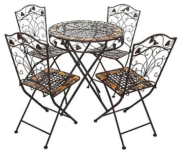 Gartentisch und 4 Stühle Eisen Schmiedeeisen antik Stil Gartenmöbel braun Stein