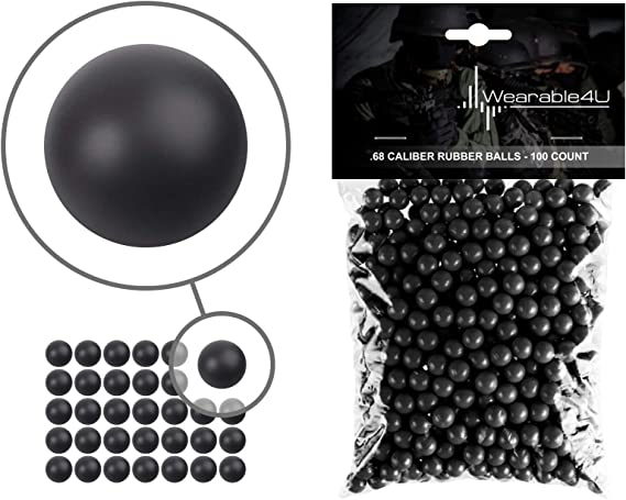 Wearable4U .68 Caliber Rubber Balls New Reusable Training Soft Rubber Balls for Paintball Guns