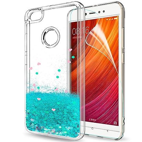 LeYi Funda Xiaomi Redmi Note 5a Prime/Note 5a Silicona Purpurina Carcasa con HD Protectores