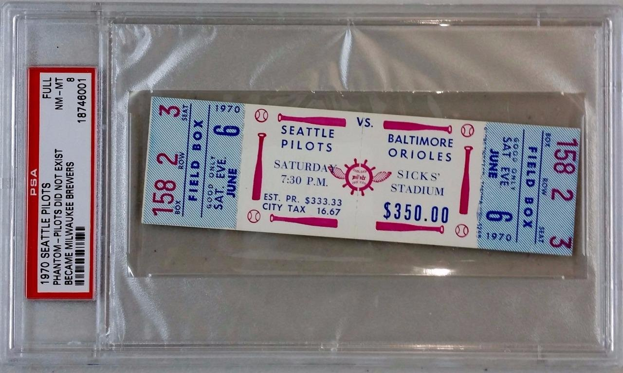 SEATTLE PILOTS vs BALTIMORE ORIOLES June 6, 1970 Full Unused Ticket Stub ~ PSA 8