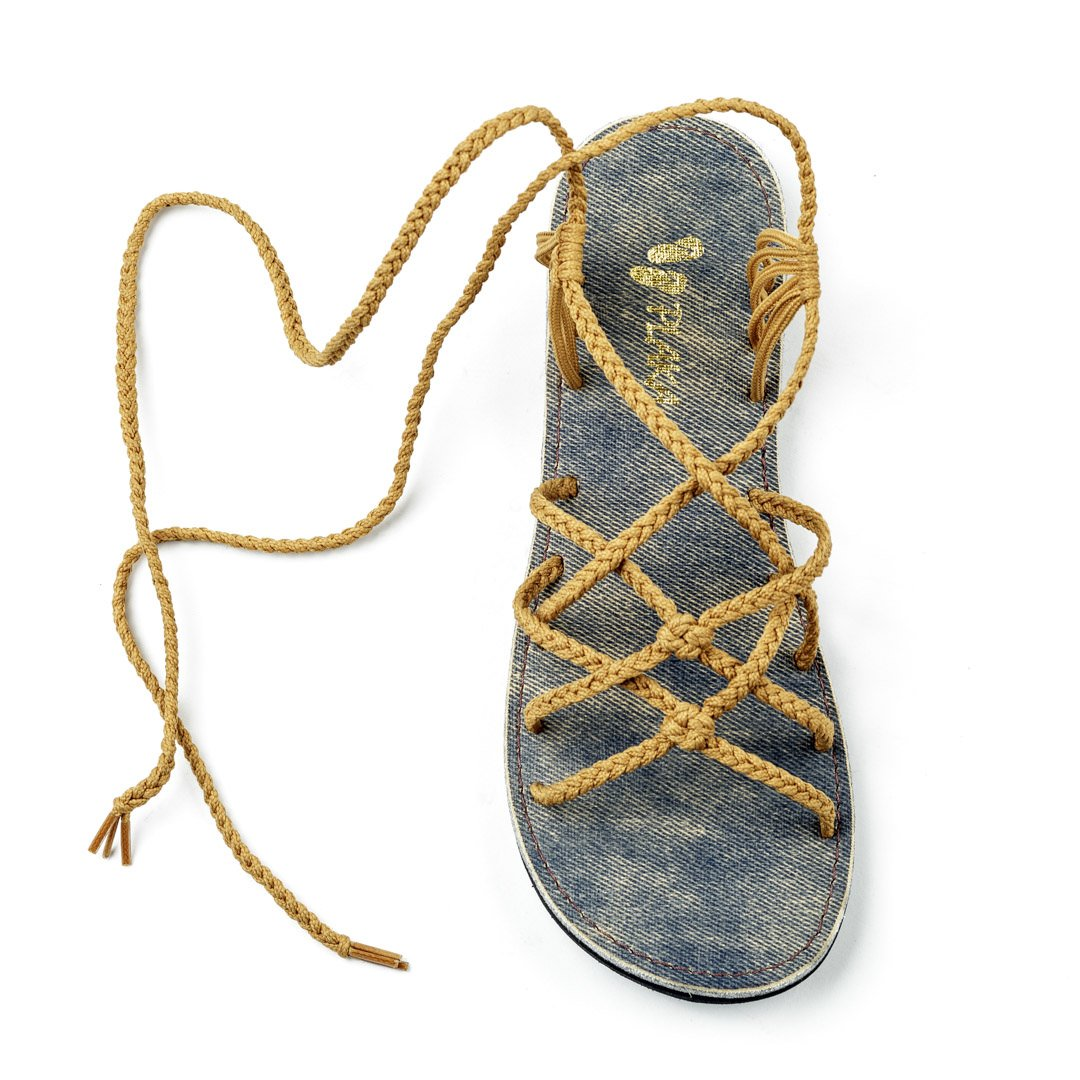 Sand-yellow Plaka Flat Gladiator Sandals for Women Sahara