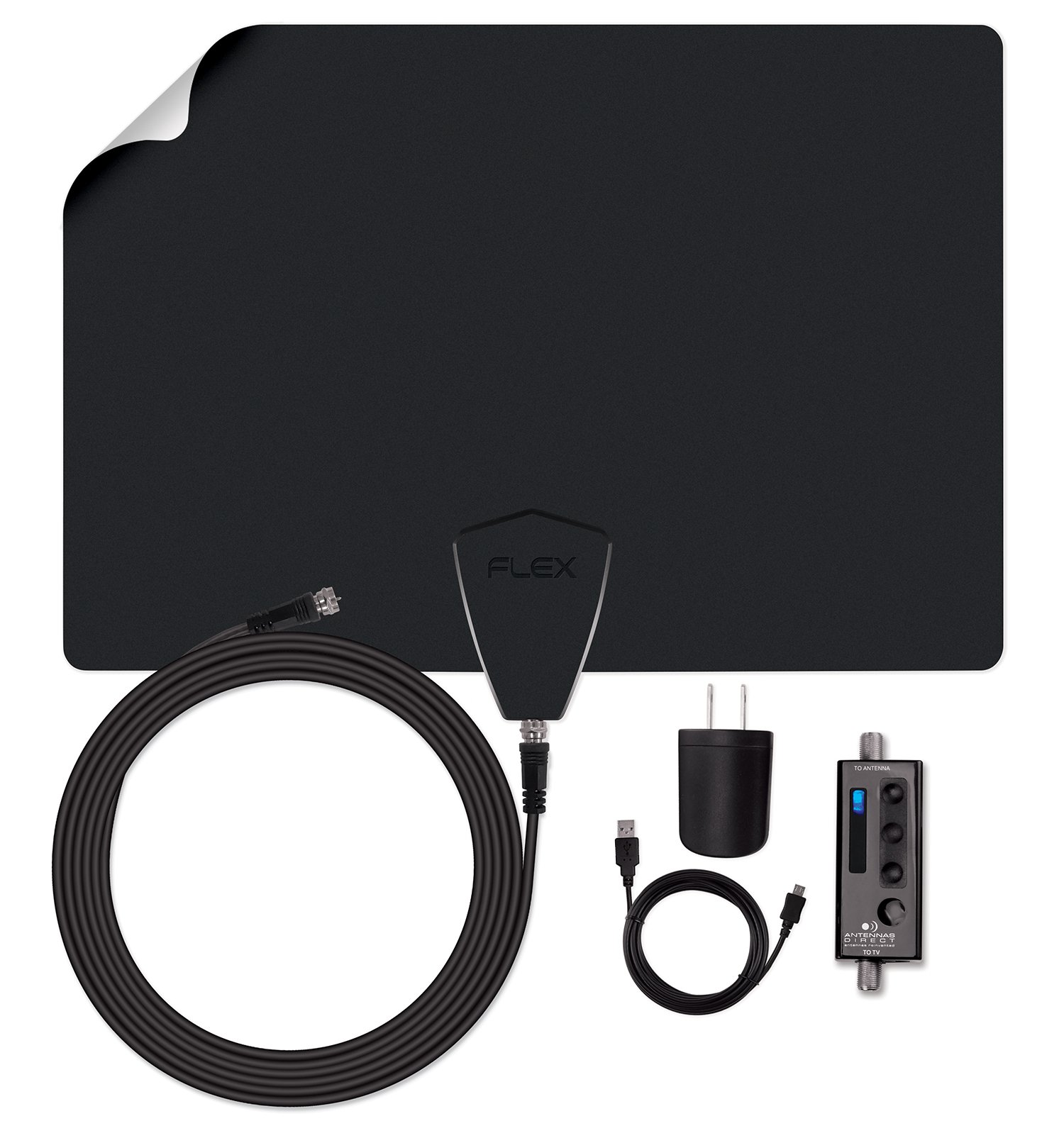 Antennas Direct ClearStream FLEX Amplified TV Antenna, 50+ Mile Range, UHF/VHF, Multi-directional, Grips to Walls, USB In-Line Amplifier, 15 ft. RG-6 Cable, 4K Ready, Black/White/Paintable - FLEX