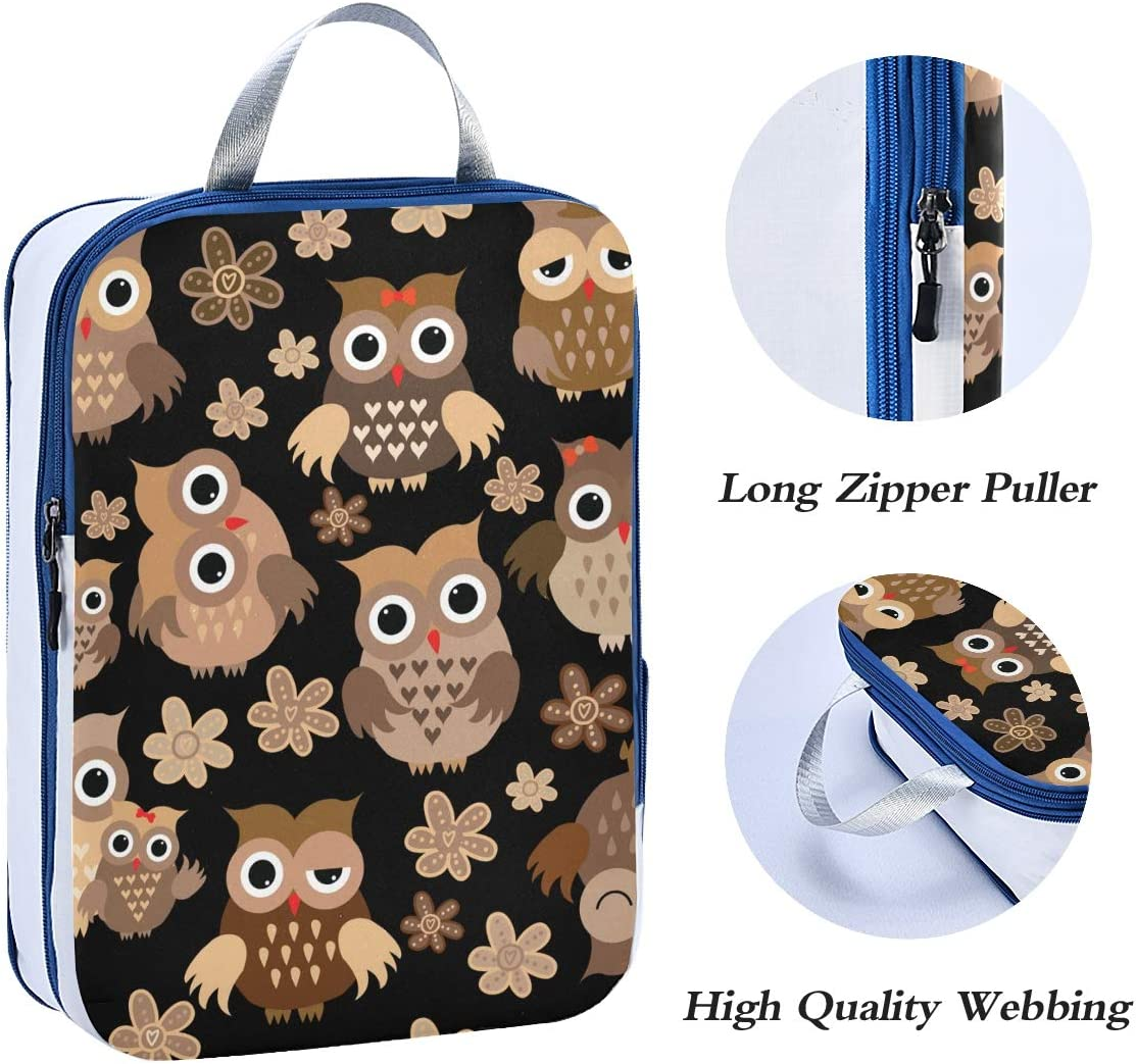 k Owls Pattern 3 Set Packing Cubes,2 Various Sizes Travel Luggage Packing Organizers