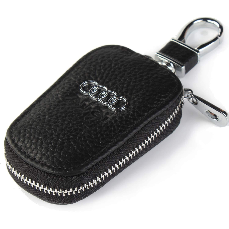 car Key Chain Keychain,Genuine Leather Car Smart Key caseKey Chain Keychain Holder Metal Hook and Keyring Zipper Bag for Remote Key Fob (Audi)