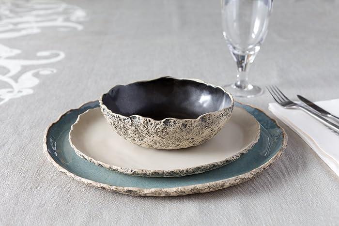 Stunning handmade organic dinnerware setting Large ceramic dinner set Stoneware dinner setting Blue & Amazon.com: Stunning handmade organic dinnerware setting Large ...