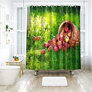 """Fresh Apples Fruit Theme Shower Curtain, Waterproof Microfiber Bath Curtains with Hooks, Water-Resistance and Moisture-Resistance for Bathroom and Hotel, Green Yellow, 72"""" x 78"""""""
