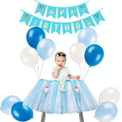 1st Birthday High Chair Decoration Tutu Skirt Happy Banner Balloons