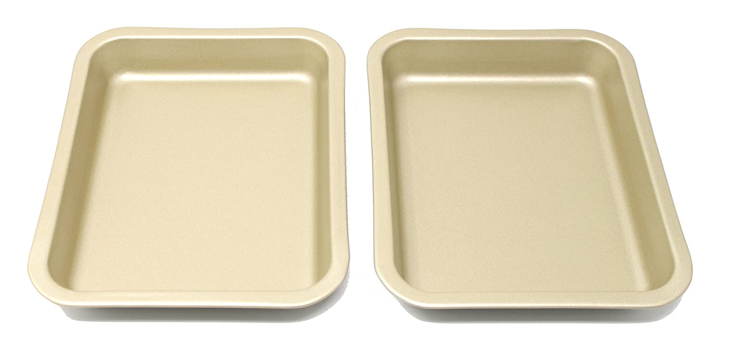 Single Portion Tray / Small Roasting Pan, Twin Pack, British Made with Gold GlideX Non Stick by Lets Cook Cookware