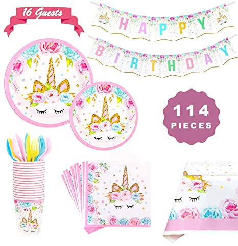 Sunshine smile Set de Vajilla Unicornio,Kit de Fiesta de ...