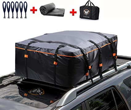 2 Reinfored Straps Included Fits All Cars with No Roof Rack Waterproof Cargo Top Storage Bag Car Roof Bag 20 Cubic Feet Heavy Duty Rooftop Bag Vehicle Soft Shell Carrier Bag