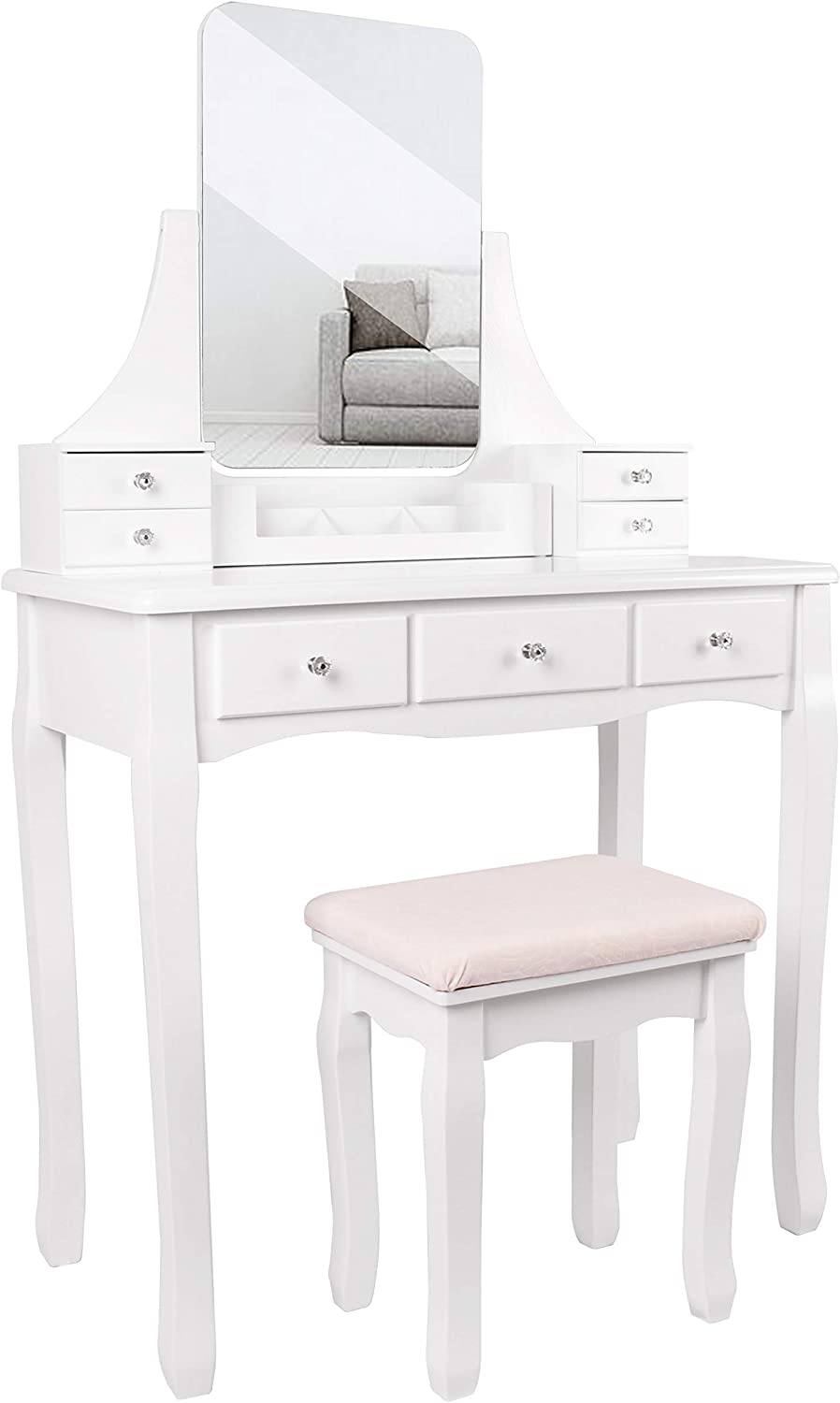 Vanity Table Set with Large Frameless Mirror, Makeup Dressing Table Set for Bedroom, Bathroom, 7 Drawers, Cushioned Stool, White