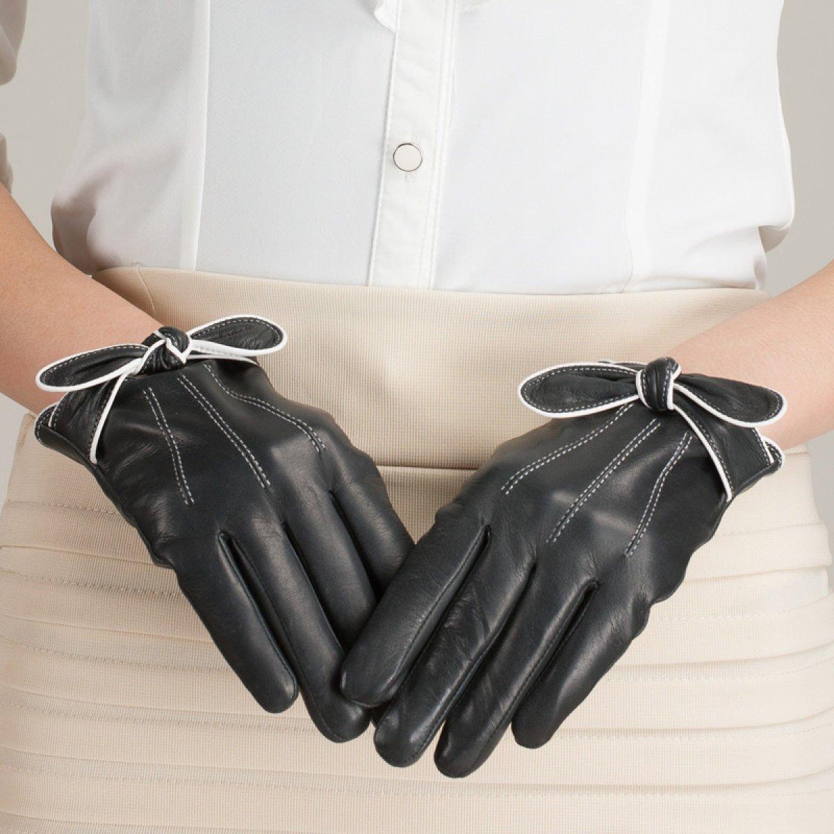 LQABW Moda Mujer Bowknot Guantes De Cuero