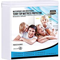 Utopia Bedding Premium 200 gsm 100% Impermeable Protector de Colchón, Funda de Colchón de Rizo de Algodón, Transpirable…