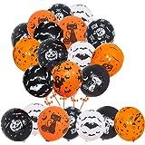 Halloween Decorations Latex Balloons, 50pcs 12 Inch Pumpkin Bat Ghost Skull Spider Web Balloon for Halloween Party…
