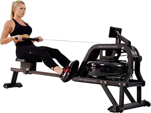 Sunny Health Fitness Water Rowing Machine Rower w LCD Monitor