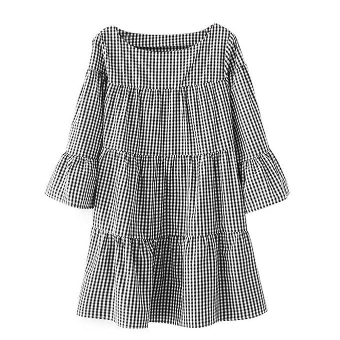 vestidos de fiesta cortos Switchali mujer diariamente moda Vestido a cuadros Verano Suelto Vestido de celosía