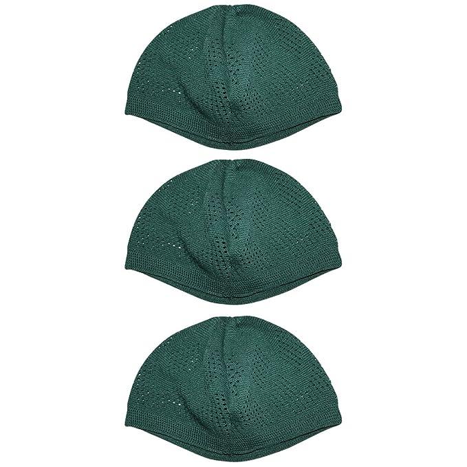 9a946576df5 Kufi Hats for Men Prayer Cap Bundle White Black Blue Green Tan (Green) at  Amazon Men s Clothing store