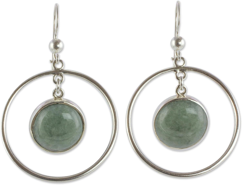 NOVICA Jade .925 Sterling Silver Dangle Earrings 'Saturn in Apple Green'