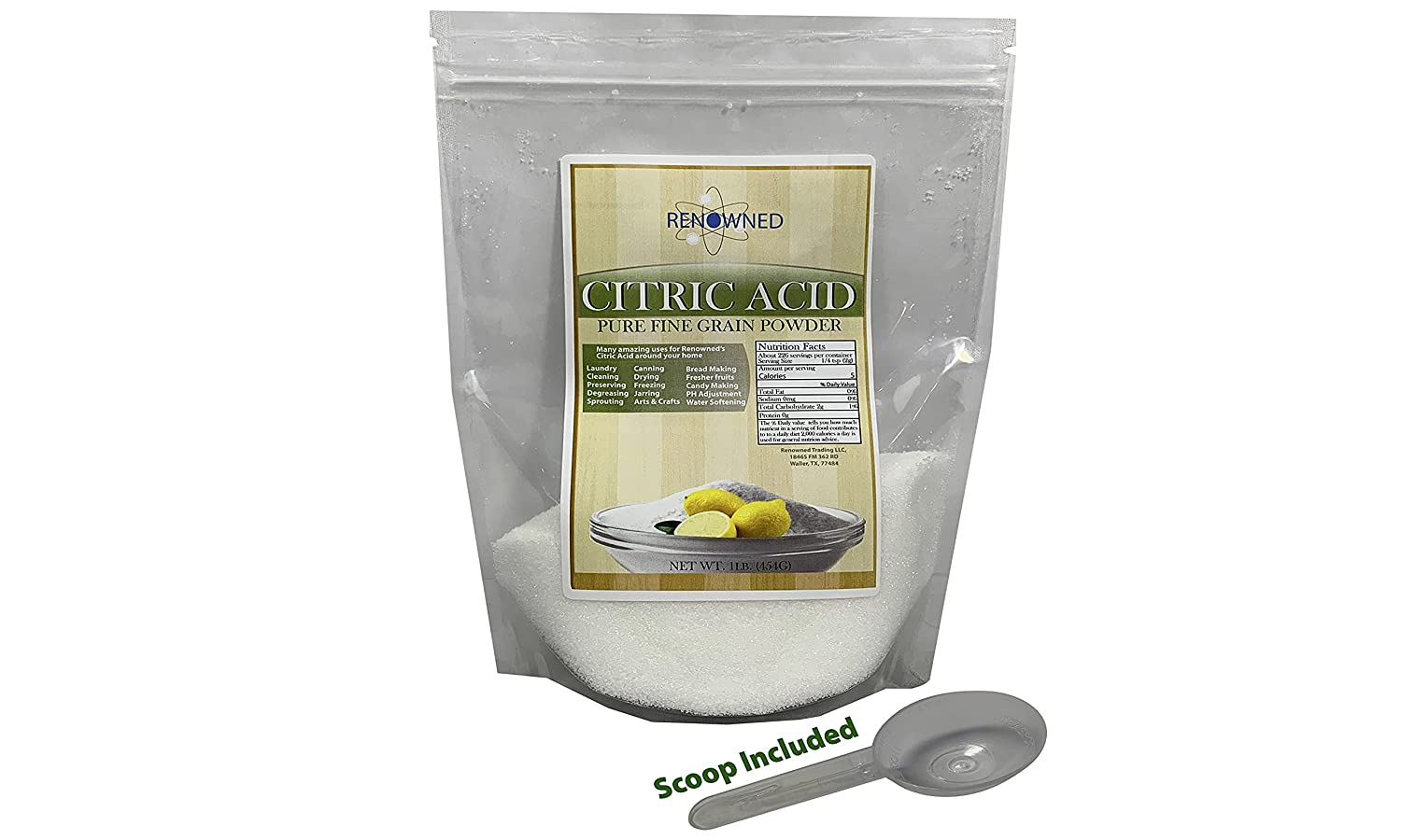 Renowned Trading | Citric Acid | Pure Fine Powder | Food Grade | 1 Pound (454G)