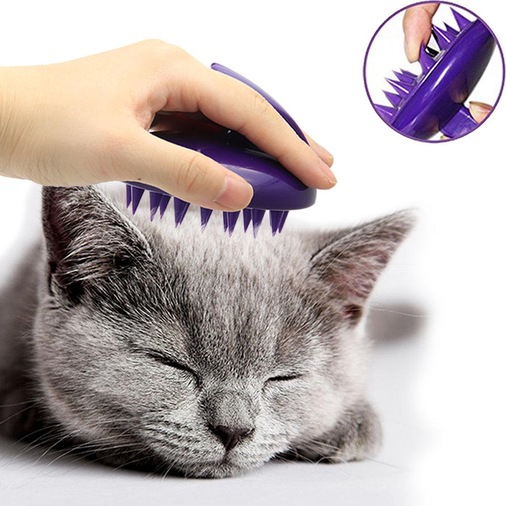 CELEMOON [Soft Silicone Pins] Ultra-Soft Silicone Washable Cat Grooming Shedding Massage/Bath Brush - Safe & No Scratching Any More - Purple Best Cat Massage Comb