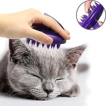 CELEMOON - Cepillo para Gatos, púas de Silicona Suave, Lavable, para masajear y Limpiar a tu Gato, Seguro y sin arañazos, Color Morado