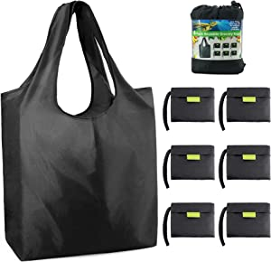 Black-Grocery-Bags-Reusable-Foldable-Shopping-Bags Large 50LBS Reusable Bag Groceries Tote Bags with Square Pouch Bulk 6 Pack Ripstop Fabric Washable Durable Lightweight