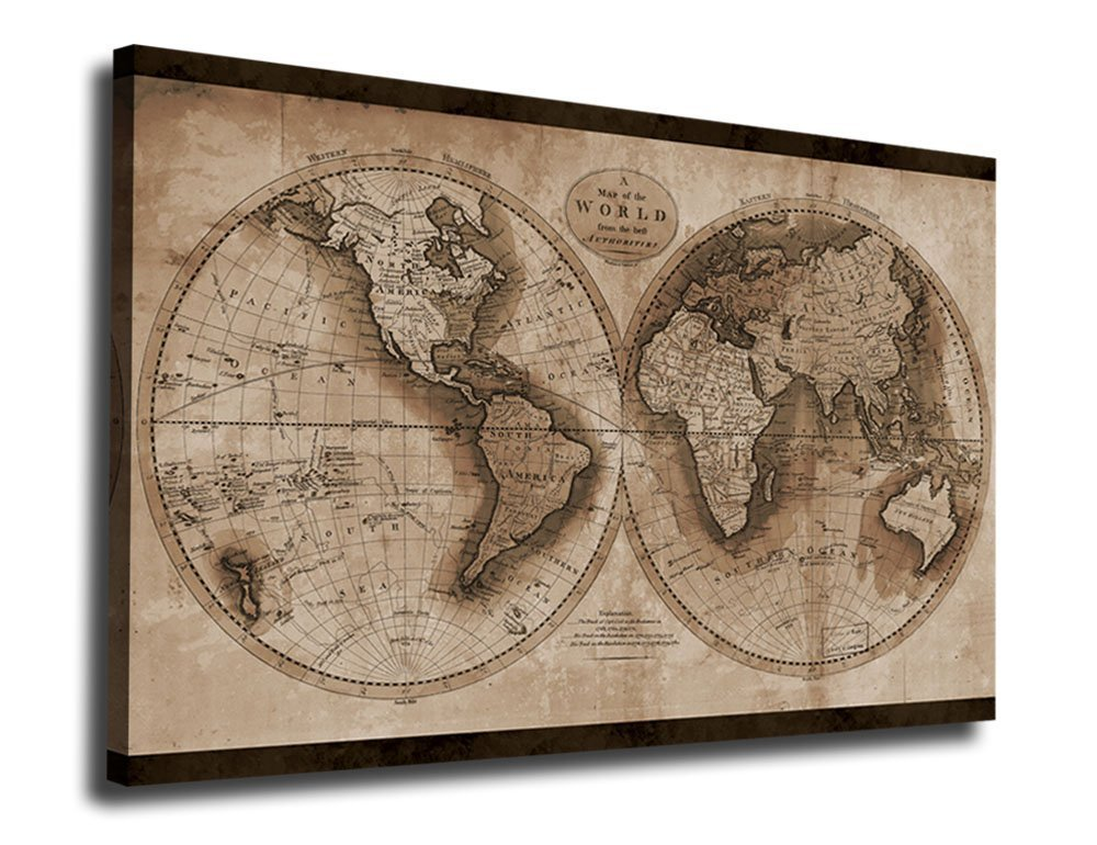Large Vintage Map Of The World.Amazon Com Yearainn Canvas Wall Art World Map Painting Artwork